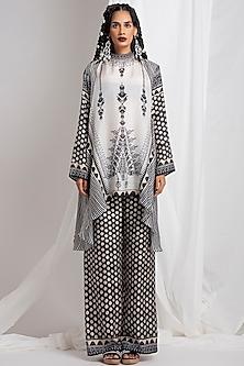 Black Asymmetric Tunic With Pants by Rajdeep Ranawat