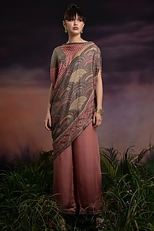 Peony Pink Printed Top With Pants by Rajdeep Ranawat