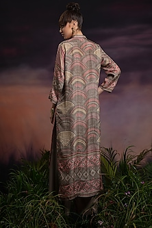 Dusty Rose Long Printed Kurta With Pants by Rajdeep Ranawat
