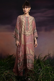 Peony Pink Printed Long Kurta With Pants by Rajdeep Ranawat