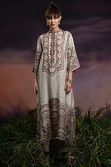 Ivory Digital Printed Tunic With Pants by Rajdeep Ranawat