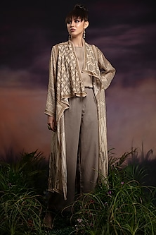 Gold Printed Jacket With Top & Pants by Rajdeep Ranawat
