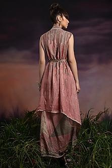 Dusty Rose Printed Skirt Set by Rajdeep Ranawat