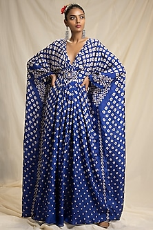 Blue Kaftan With Jewelled Belt by Rajdeep Ranawat