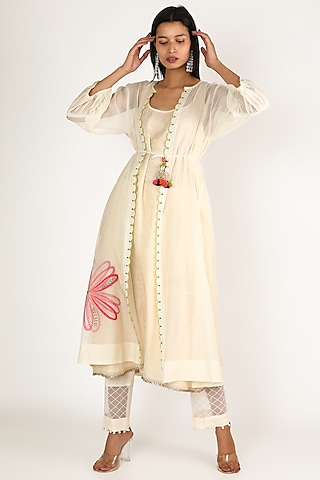 Off White Embroidered Kurta With Jacket by Raji ramniq