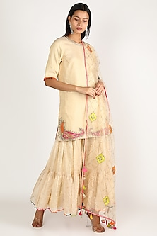 Off White Embroidered Gharara Set by Raji ramniq-POPULAR PRODUCTS AT STORE