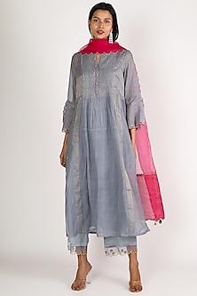 Grey Embroidered Kurta Set by Raji ramniq-POPULAR PRODUCTS AT STORE