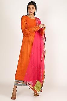 Orange Embroidered A-Line Kurta Set by Raji ramniq-POPULAR PRODUCTS AT STORE