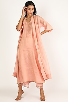 Nude Pink Embroidered Kurta Set by Raji ramniq-POPULAR PRODUCTS AT STORE