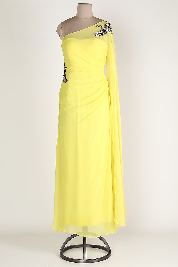 Yellow Embroidered Draped Gown by Rajat tangri