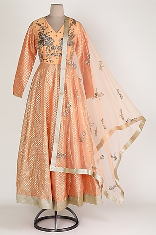 Peach Embroidered Anarkali Set by Rajat tangri