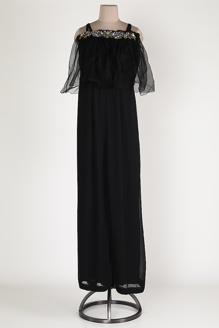 Black Embroidered Jumpsuit by Rajat tangri