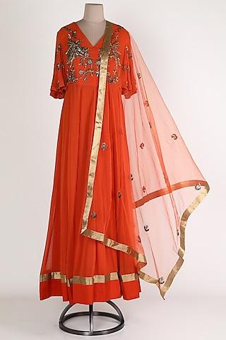 Orange Embroidered Anarkali Set by Rajat tangri