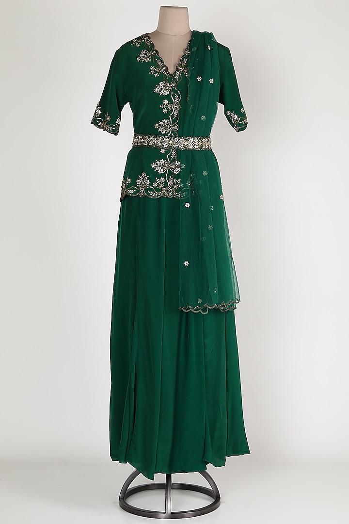 Emerald Green Embroidered Lehenga Set by Rajat tangri