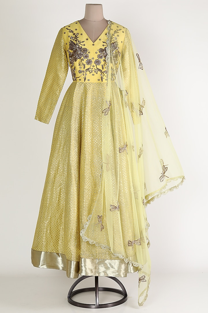 Yellow Embroidered Anarkali Set by Rajat tangri