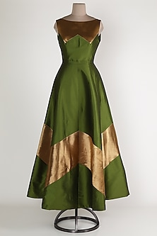 Olive Green Chevron Gown by Rajat tangri