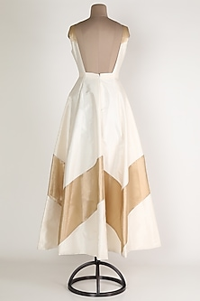 Ivory Chevron Gown by Rajat tangri