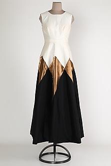 Ivory & Black Chevron Gown by Rajat tangri