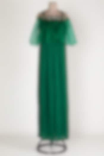 Emerald Green Embroidered Jumpsuit by Rajat tangri