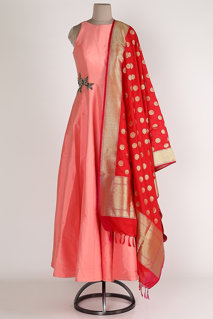 Pink & Red Gown With Dupatta by Rajat tangri