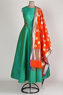 Green & Orange Gown With Dupatta by Rajat tangri