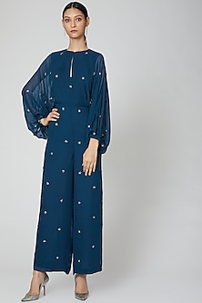 Cobalt Blue Embroidered Jumpsuit by Rajat tangri