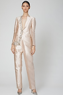 Nude Embroidered Blazer With Pants by Rajat tangri