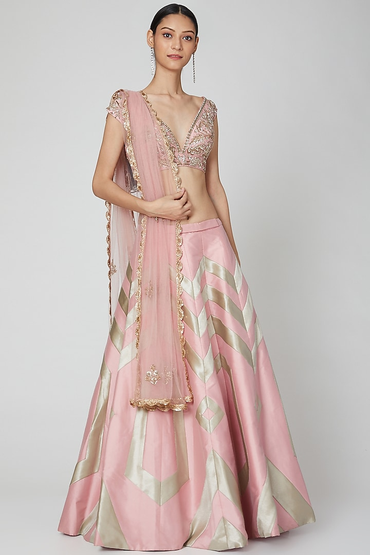 Blush Pink Embroidered Lehenga Set by Rajat tangri