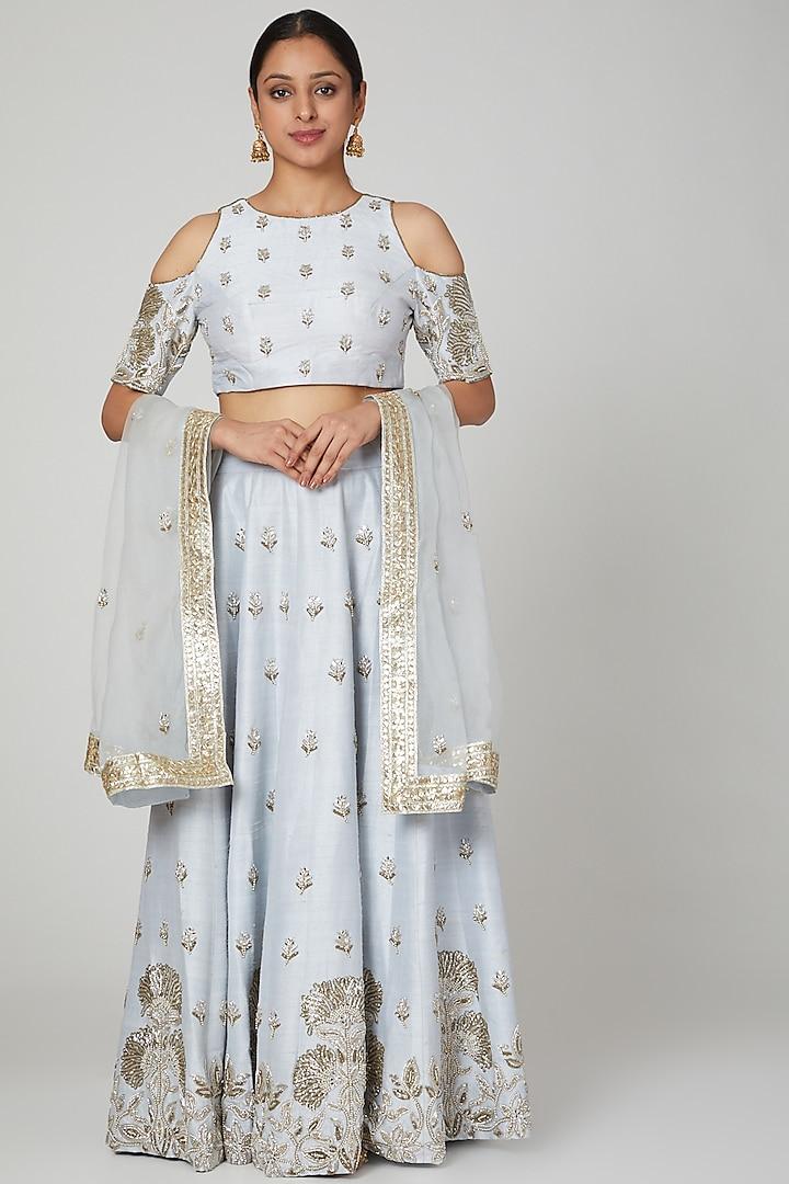 Sky Blue Embroidered Lehenga Set by Rajat tangri