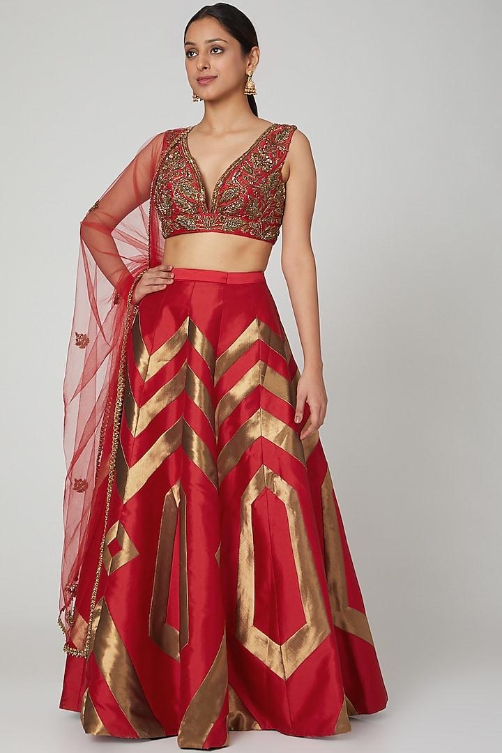 Red Embroidered Lehenga Set by Rajat tangri