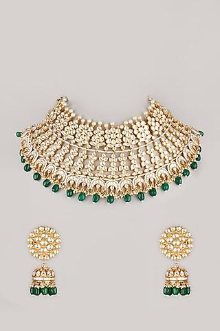 Gold Plated Kundan Polki Necklace Set by Riana Jewellery