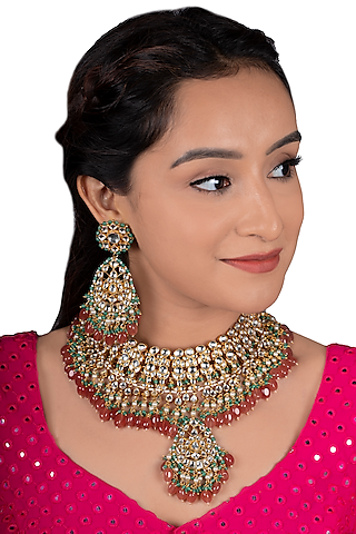 Gold Plated White Stones Bridal Necklace Set by Riana Jewellery