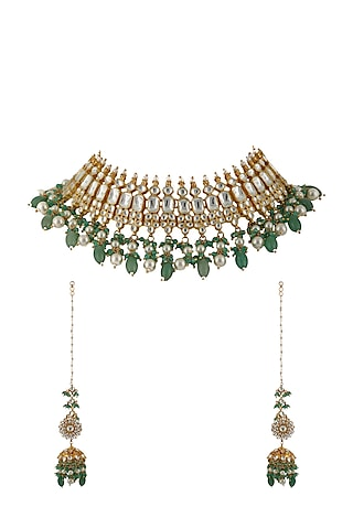 Gold Plated Jadtar Necklace Set by Riana Jewellery