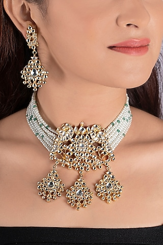 Gold Plated Jadtar Choker Necklace Set by Riana Jewellery