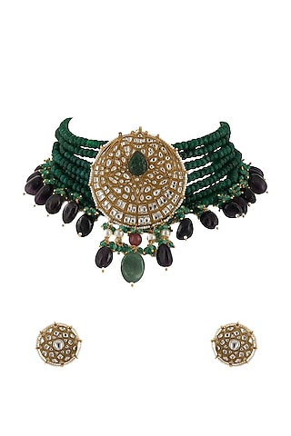 Gold Plated Green Beads Jadtar Necklace Set by Riana Jewellery