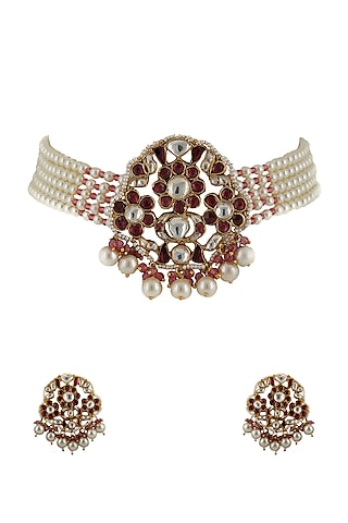 Gold Plated Pink & White Stone Choker Necklace Set by Riana Jewellery