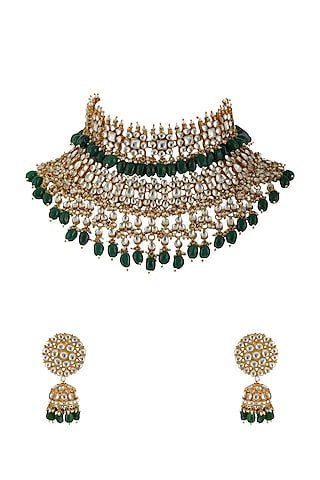 Gold Plated Green & White Jadtar Necklace Set by Riana Jewellery