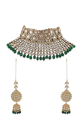 Gold Plated Green Beads Necklace Set by Riana Jewellery