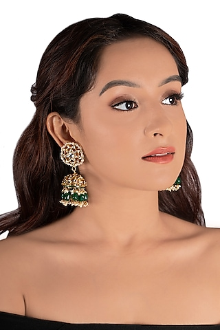 Gold Plated Jadtar & Pearls Choker Necklace Set by Riana Jewellery