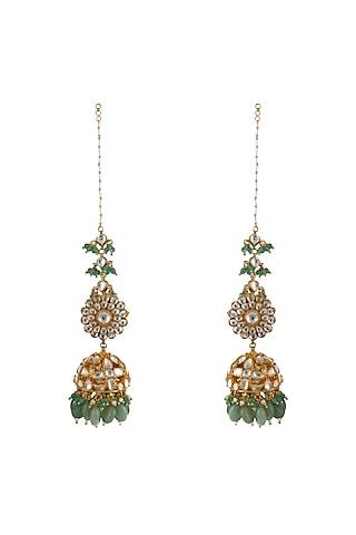Gold Plated Sea Green Bead Jhumka Earrings by Riana Jewellery