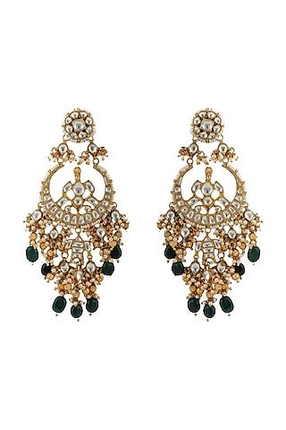 Gold Plated Jadtar & Pearls Chandbali Earrings by Riana Jewellery