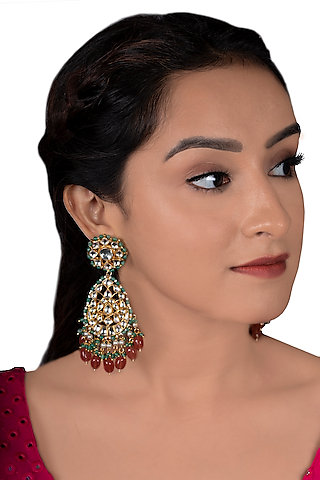 Gold Plated Pink Beads Earrings by Riana Jewellery