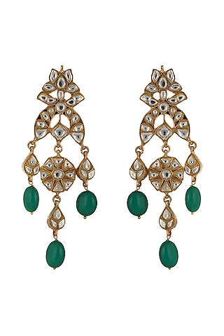 Gold Plated Jadtar Green Bead Earrings by Riana Jewellery
