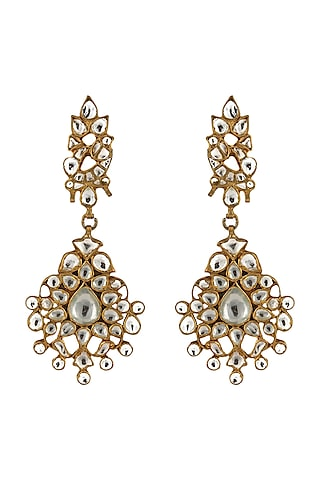 Gold Plated White Jadtar Earrings by Riana Jewellery