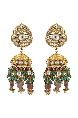 Gold Plated Jadtar Jhumka Earrings by Riana Jewellery
