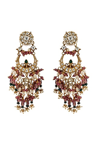 Gold Plated Pink & Green Bead Earrings by Riana Jewellery