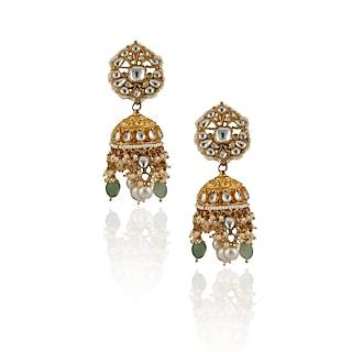 Gold Plated Sea Green Bead Earrings by Riana Jewellery