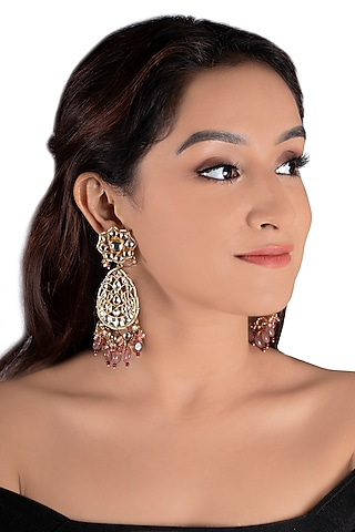 Gold Plated Pink Glass Bead Earrings by Riana Jewellery