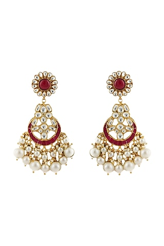 Gold Plated White & Pink Stone Earrings by Riana Jewellery
