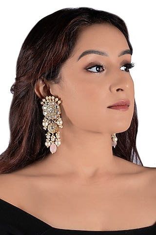 Gold Plated Jadtar Pink Bead Earrings by Riana Jewellery